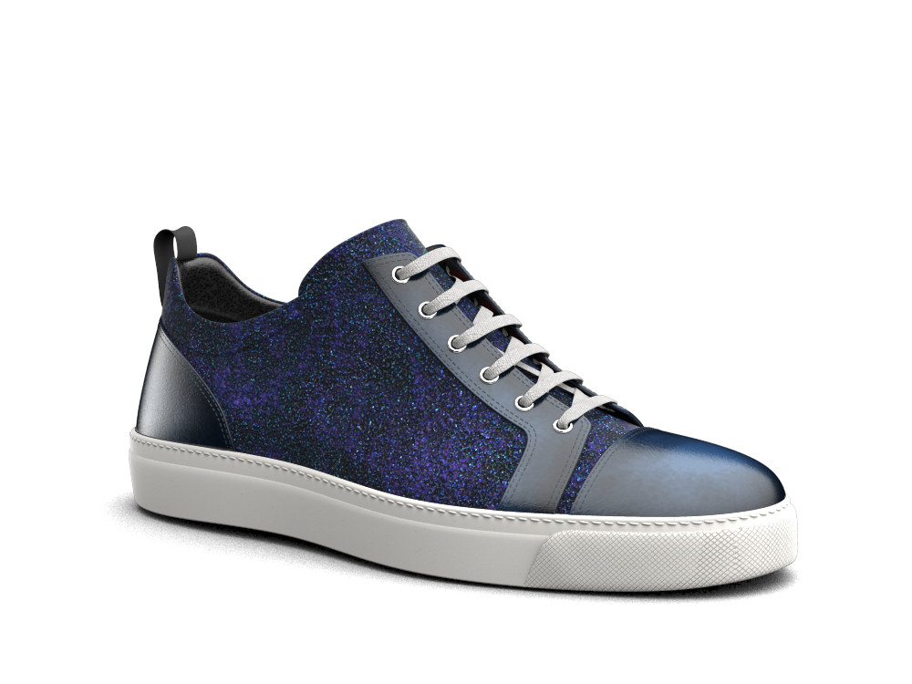 low top blue stardust polished leather sneakers