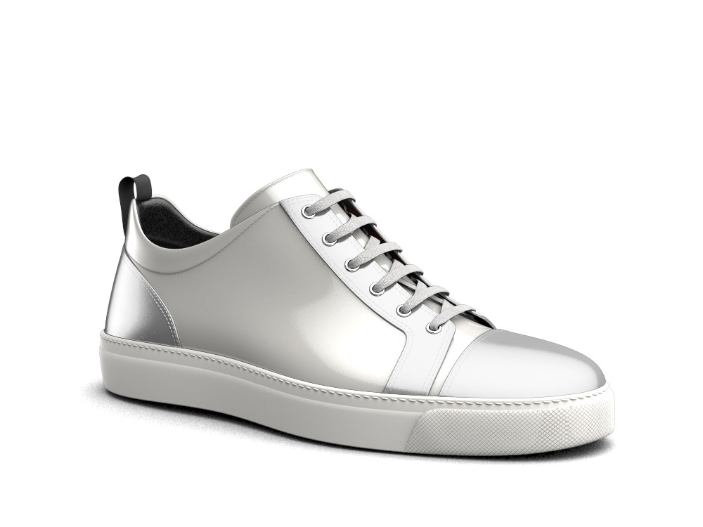 sneakers basse bianche argento