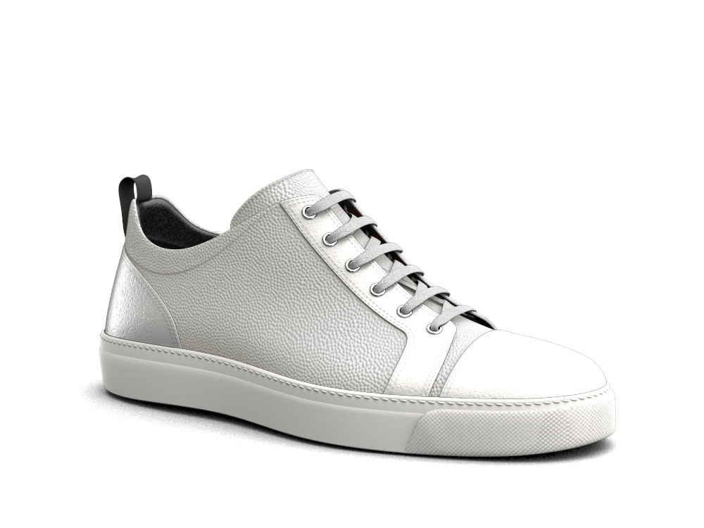 low top sneakers white pebble grain leather