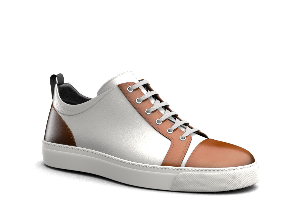 low top white calf tan polished leather sneakers