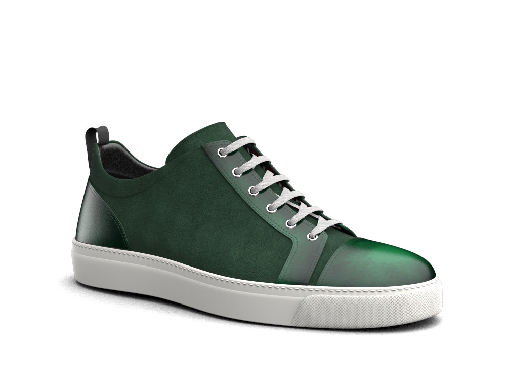 low top green suede polished sneakers