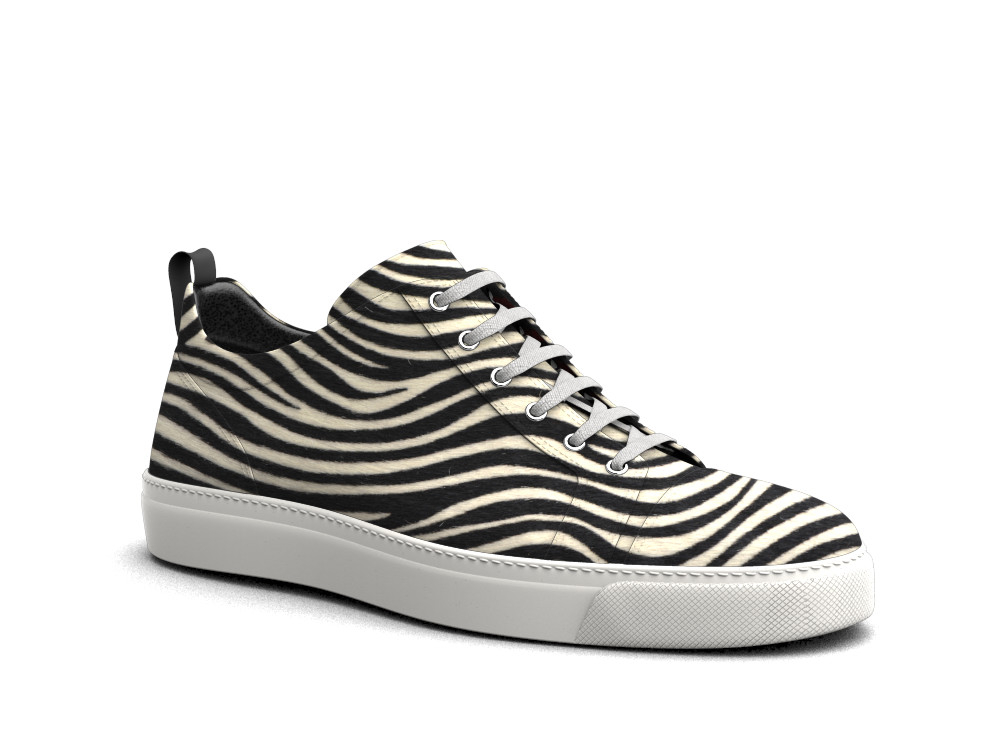 low top zebra hairy sneakers
