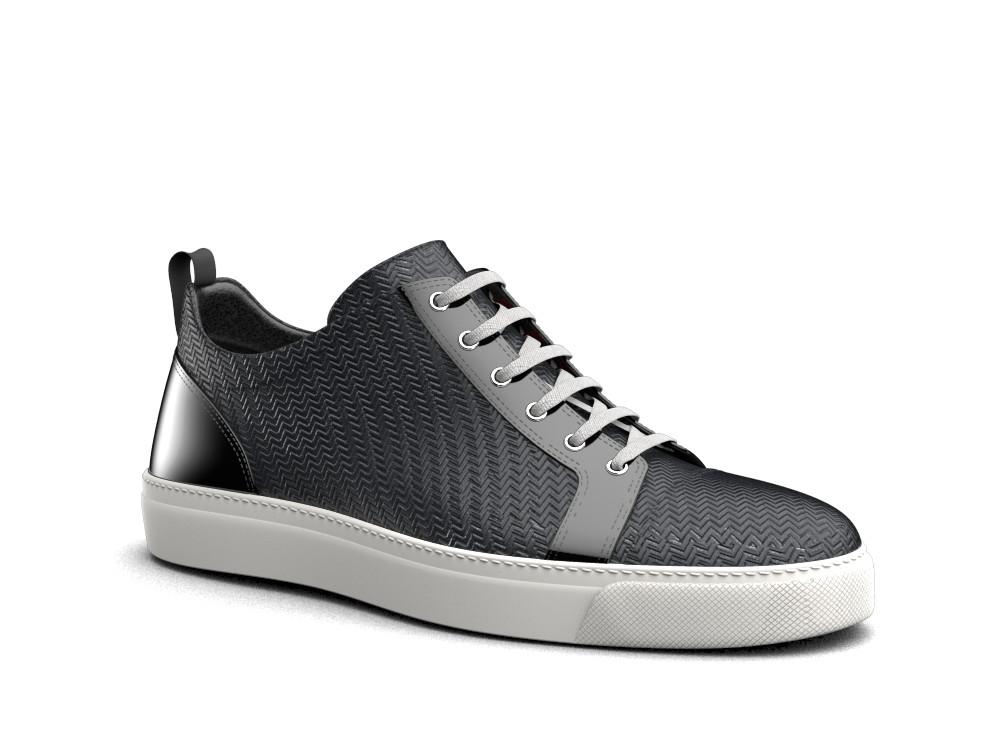 low top black victory pattern sneakers