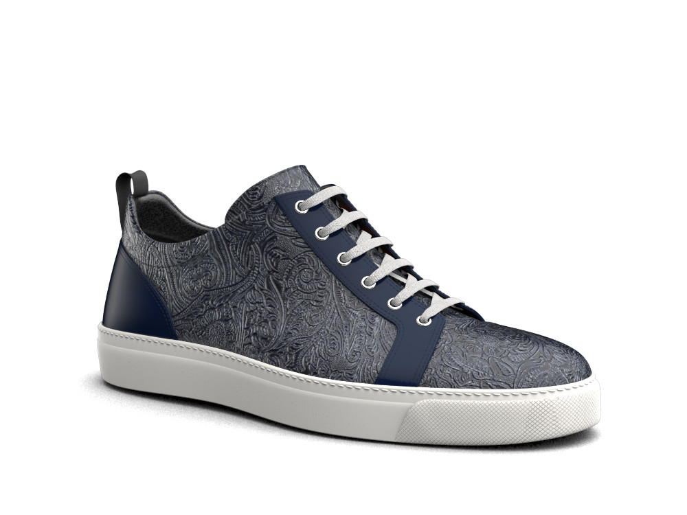 low top blue damask sneakers