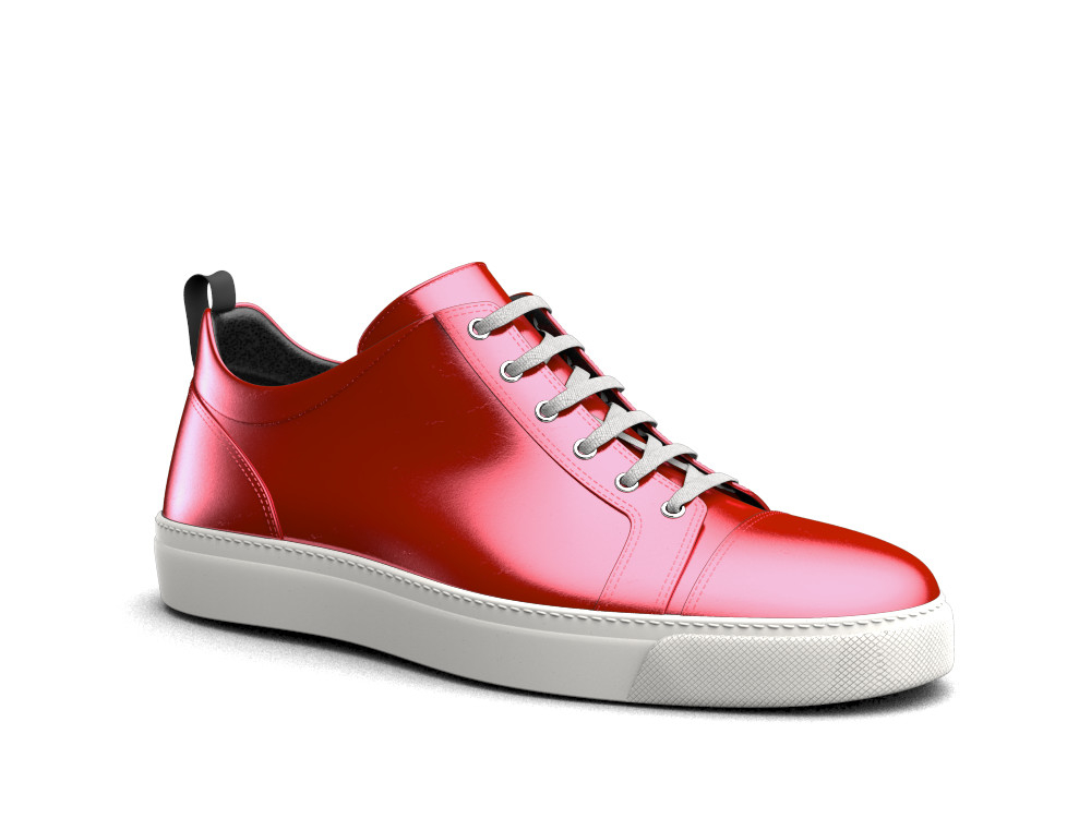 low top laminated red lipstick sneakers