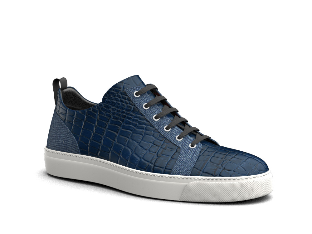 low top sneakers blue crocodile print leather and denim