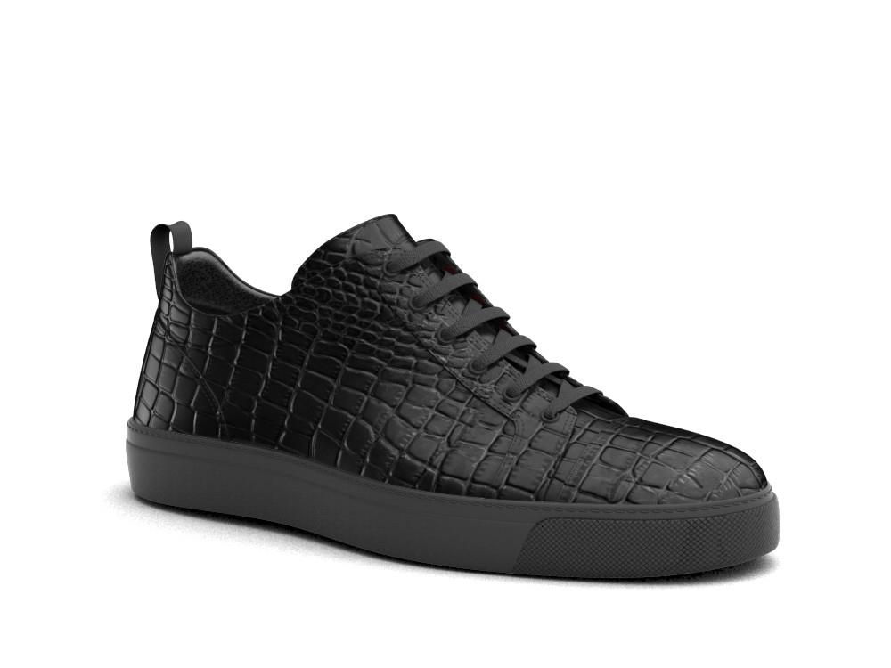 low top black crocodile printed leather sneakers