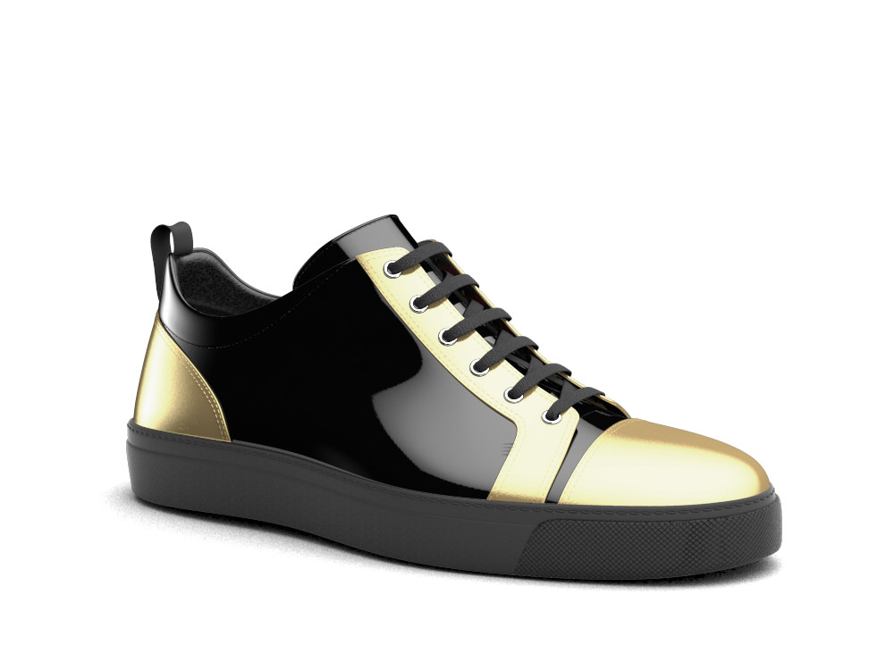 low top black gold sneakers