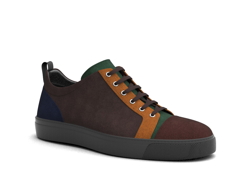low top multicolour suede sneakers
