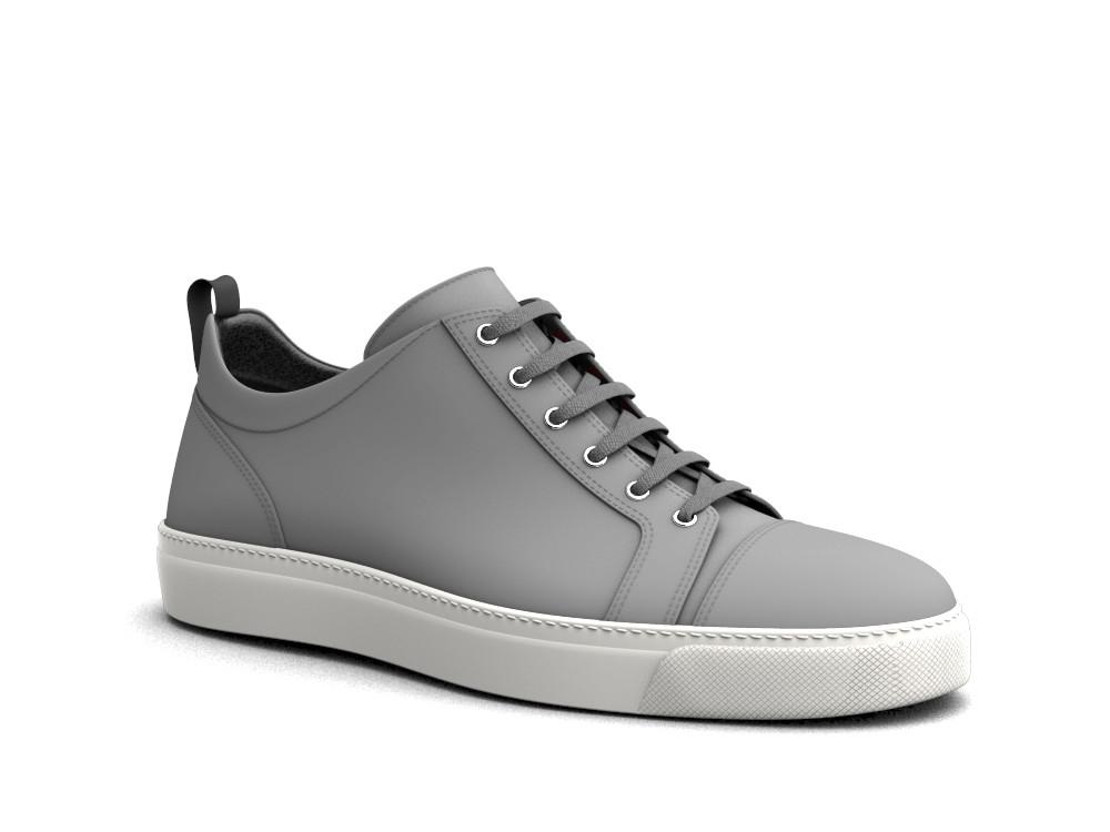 sneakers basse pelle deco grigia oliva