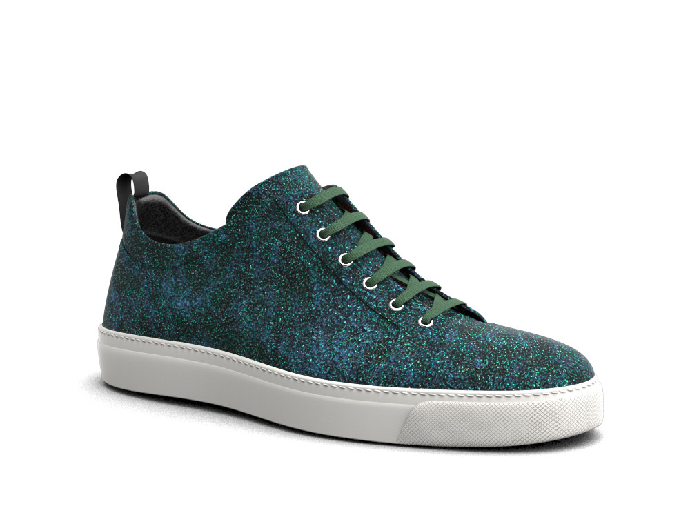 low top green stardust glitter sneakers