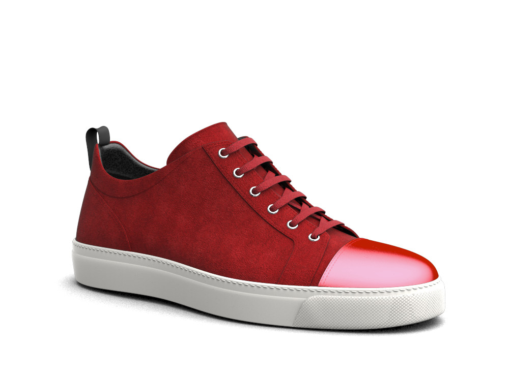 low top red passion suede laminated sneakers