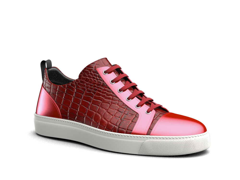 low top tomato red crocodile print laminated sneakers