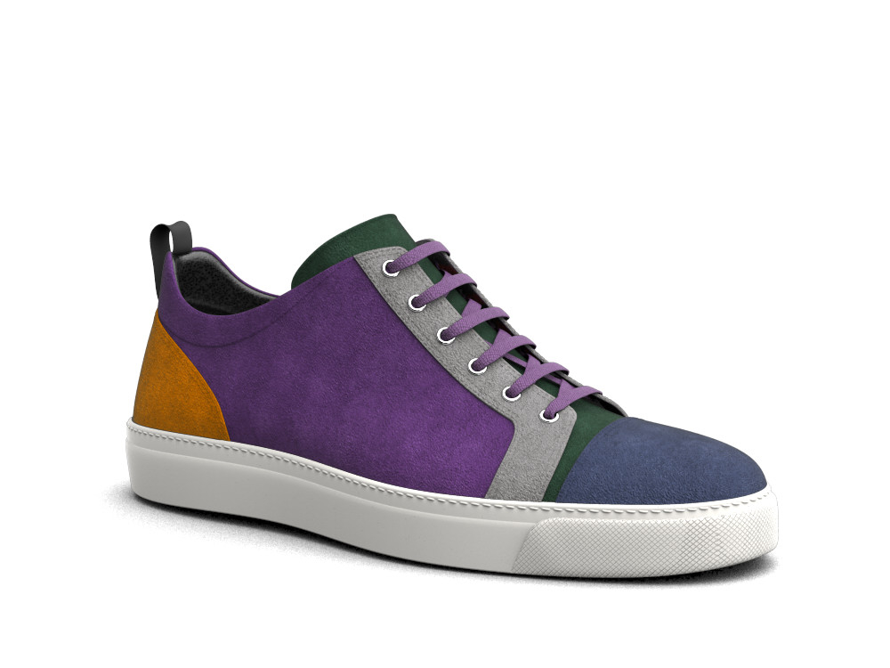 low top rainbow suede sneakers