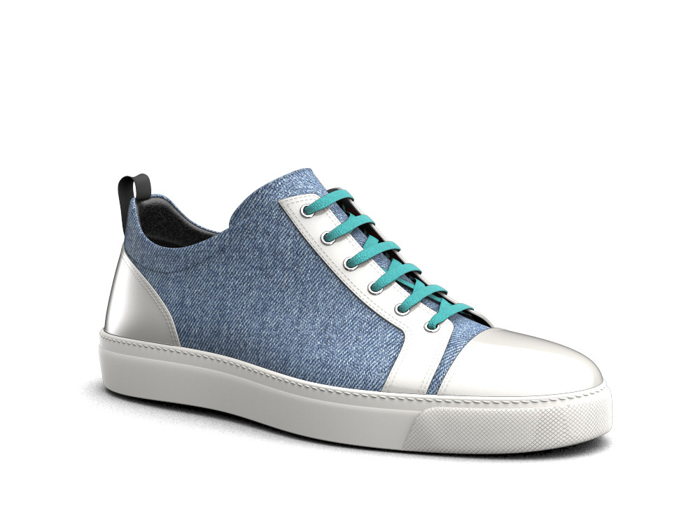 sneakers basse bicolore denim bianco