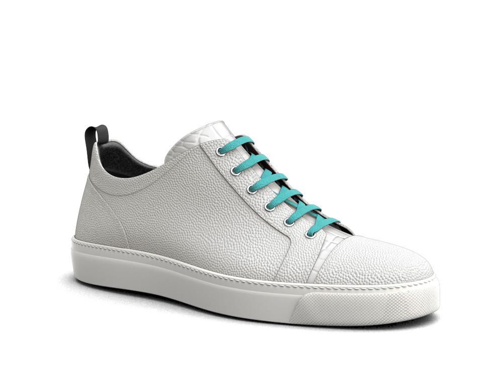 low top white pebble grain crocodile print sneakers