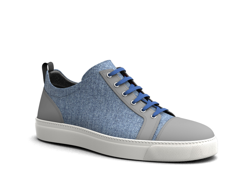 low top blue jeans deco leather sneakers