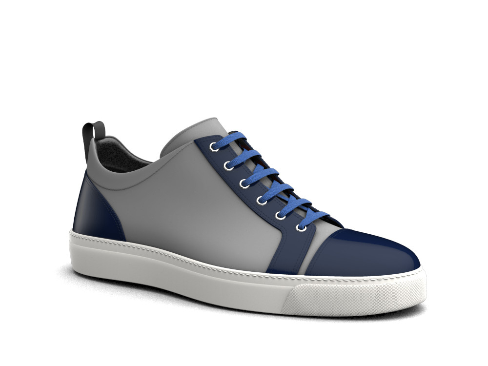 low top blue stingray print sneakers