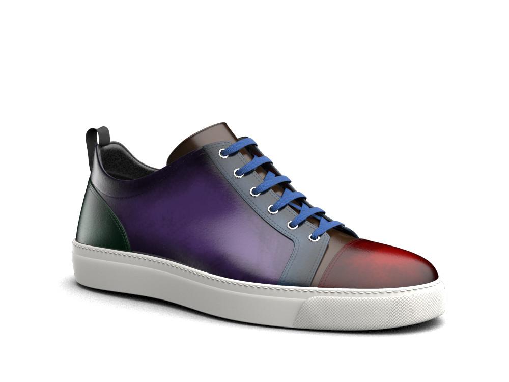 sneakers bassa pelle multicolore abrasivata