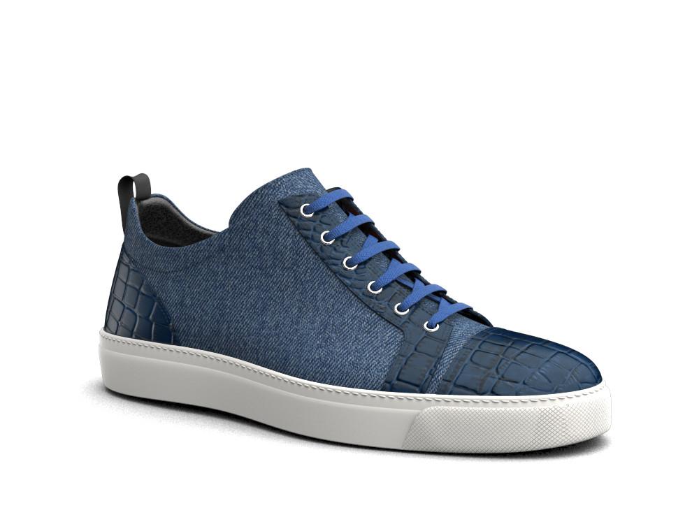 low top blue crocodile print leather denim sneakers