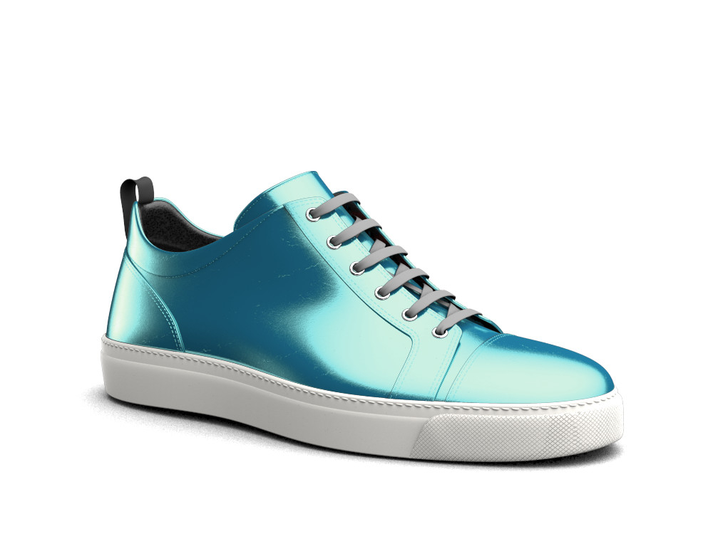 low top turquoise laminated leather sneakers