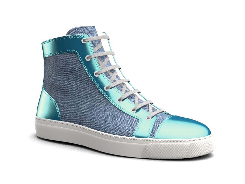 woman turquoise laminated leather denim hi top sneaker