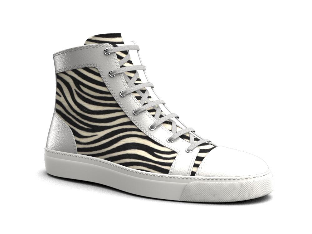 sneaker alta donna cavallino zebrato vitello bianco