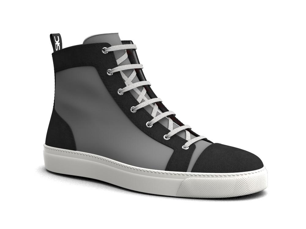 woman white laminated black suede hi top sneaker
