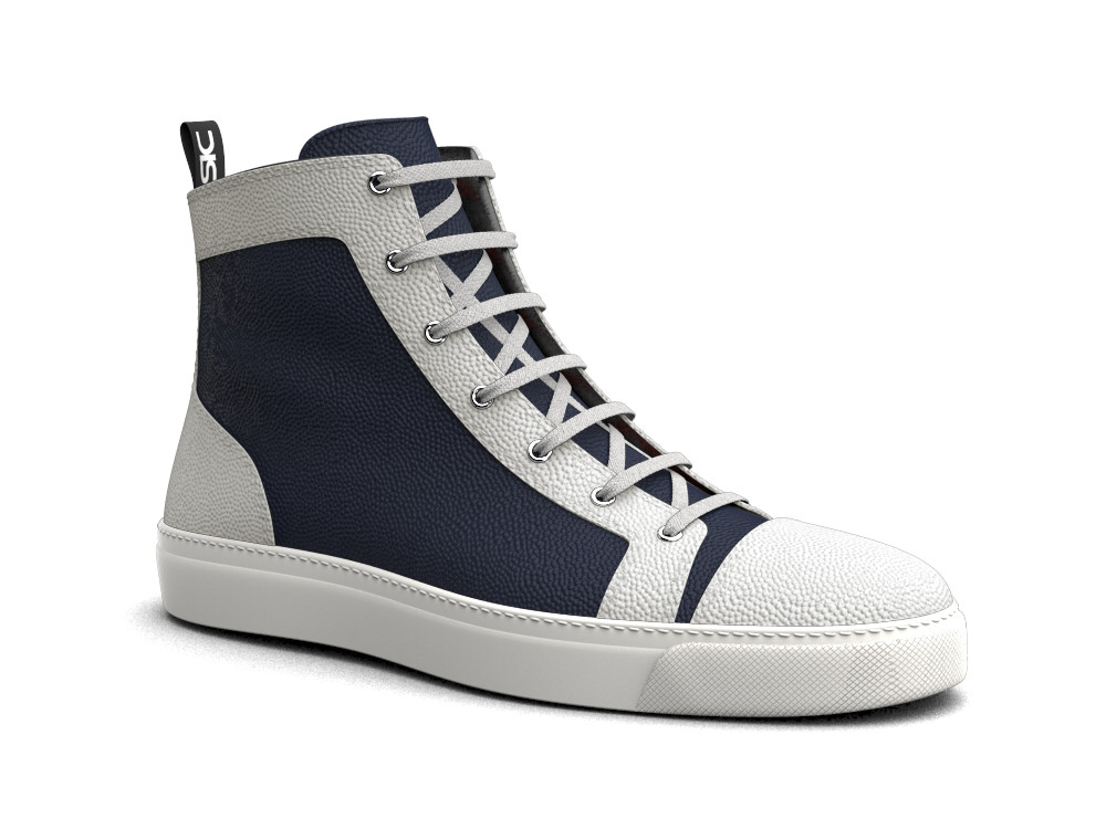 hi top sneakers navy white pebble grain leather