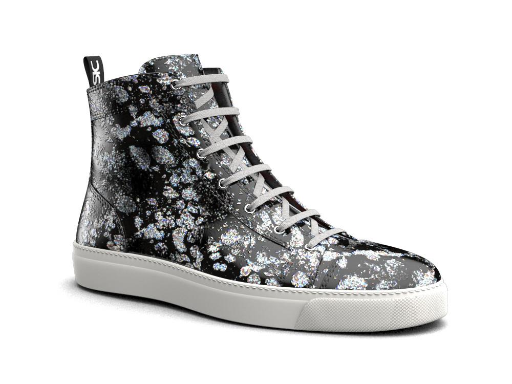 woman silver spray print leather hi top sneaker