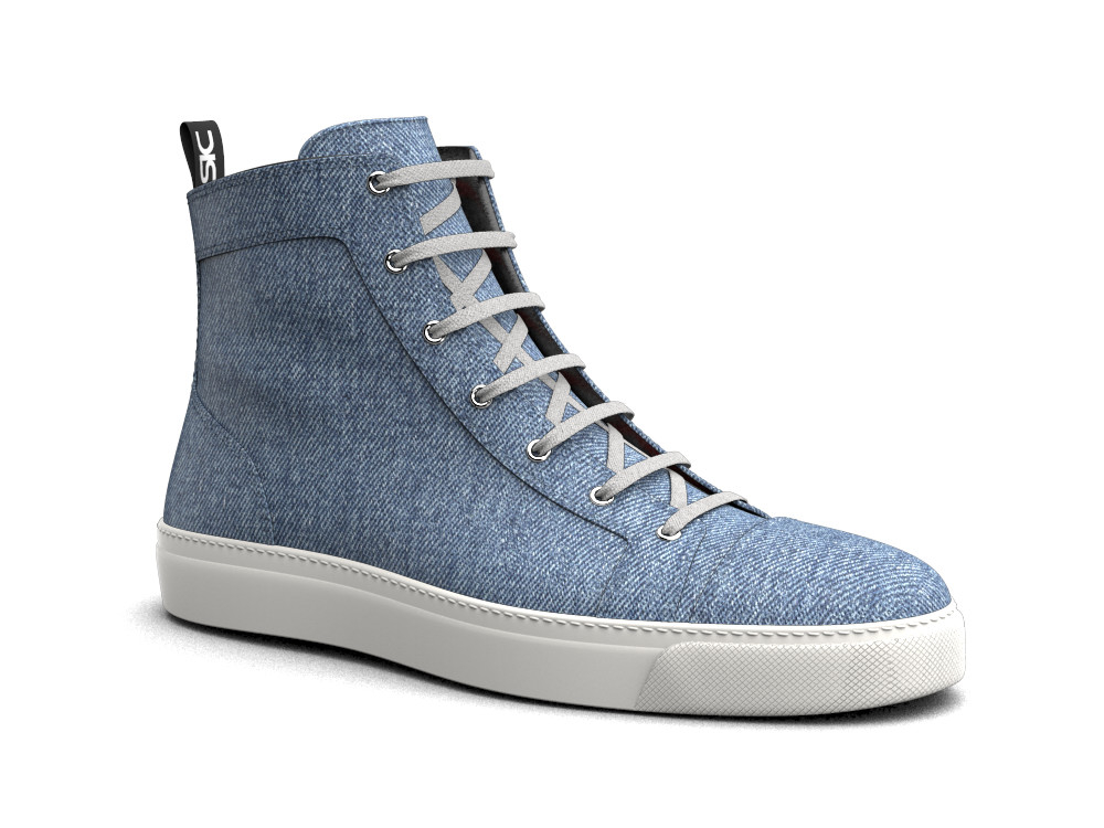hi top sneakers light blue denim