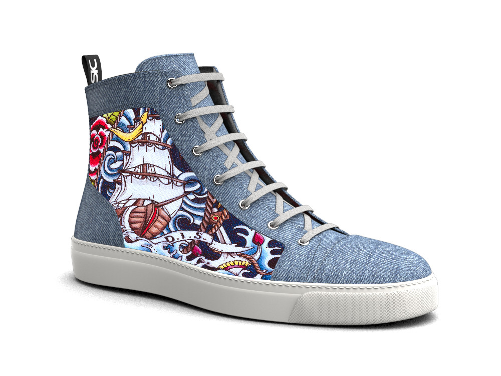 hi top sneakers denim handpaint water