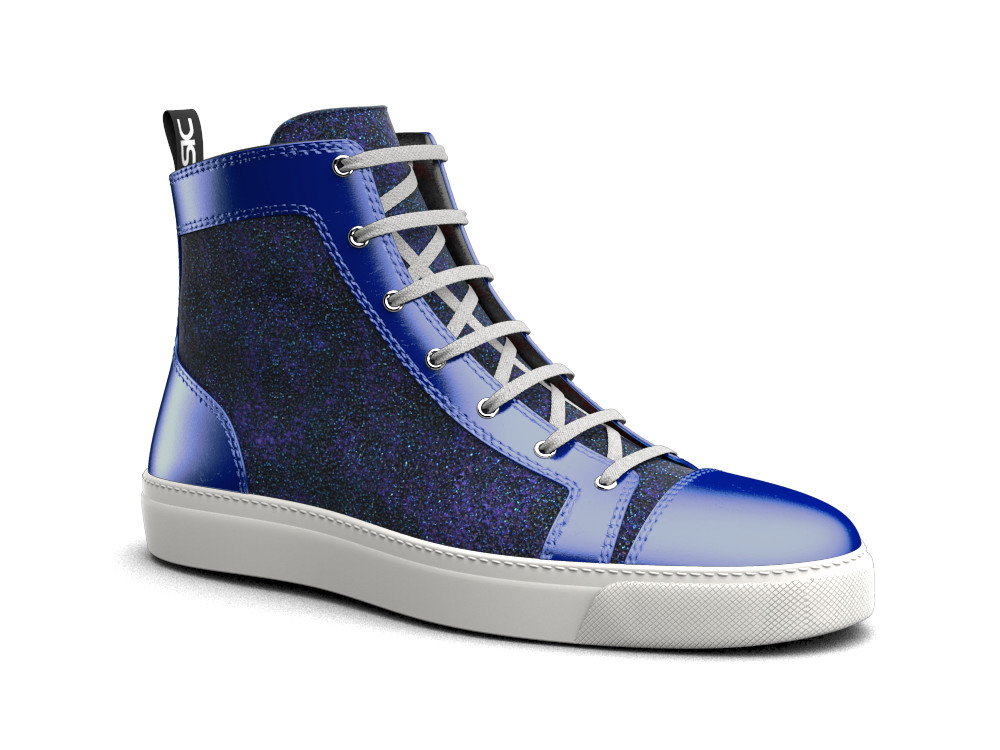 woman blue glitter stardust laminated leather hi top sneaker
