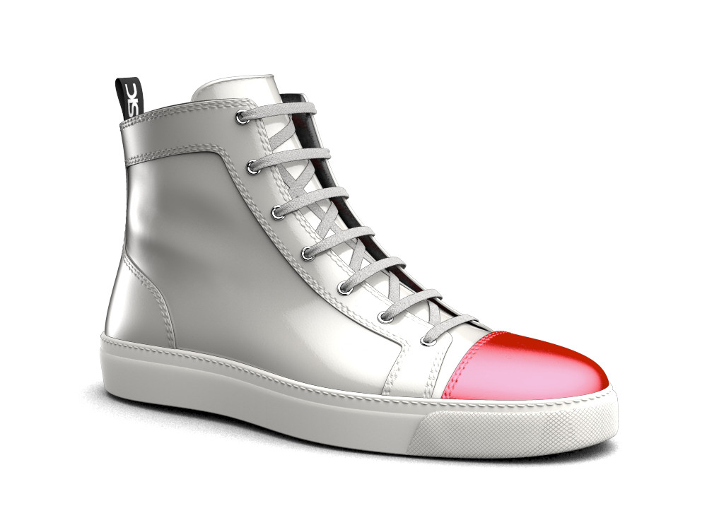 woman white shiny leather red laminated toe hi top sneaker
