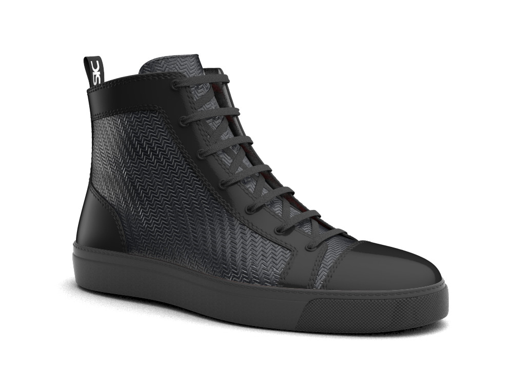black leather woman high top sneaker