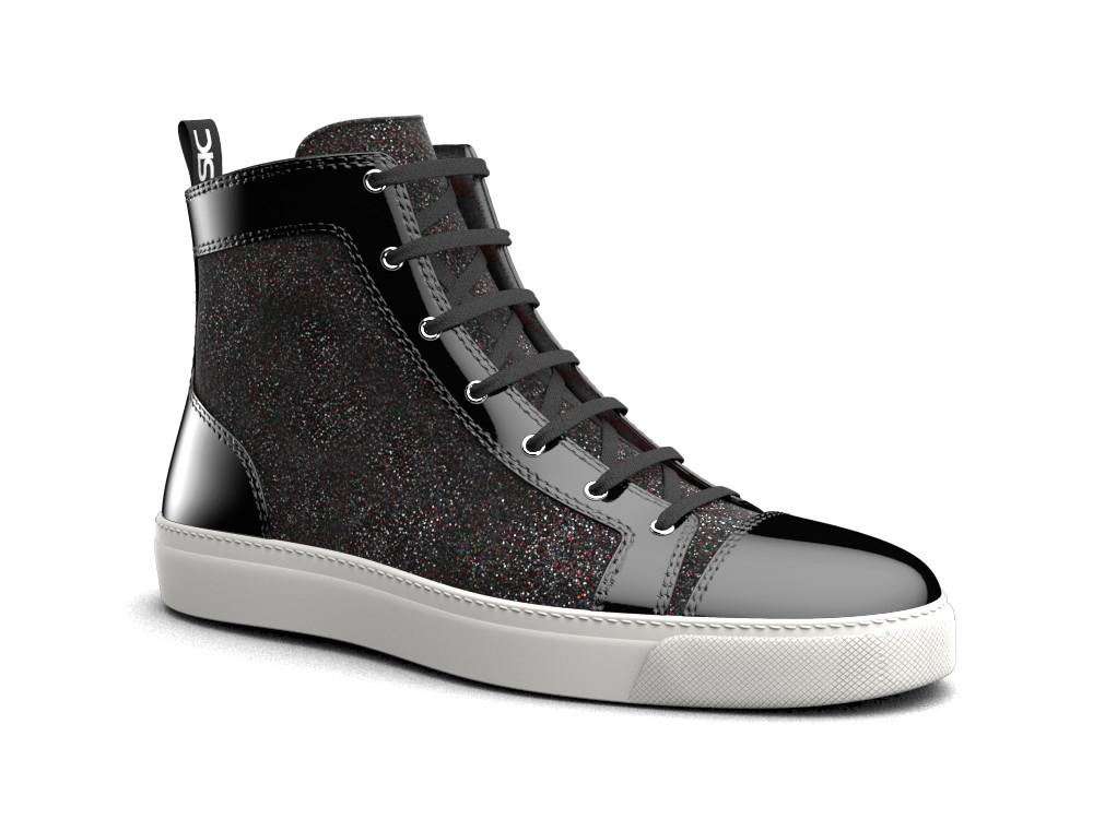sneaker alta donna pelle stardust nero