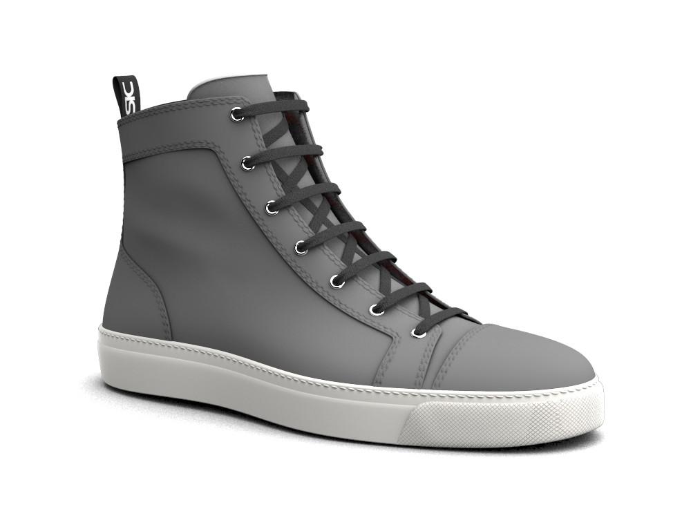 hi top sneakers black denim fabric