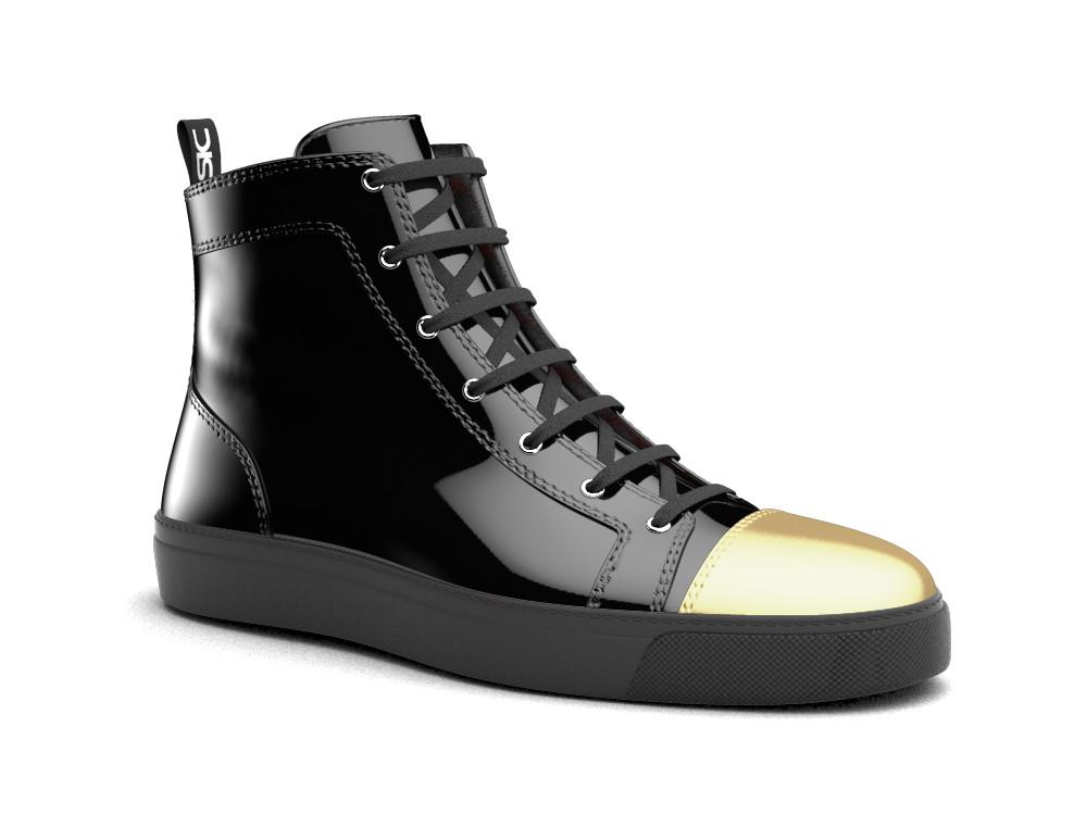 woman black patent gold toe leather hi top sneaker