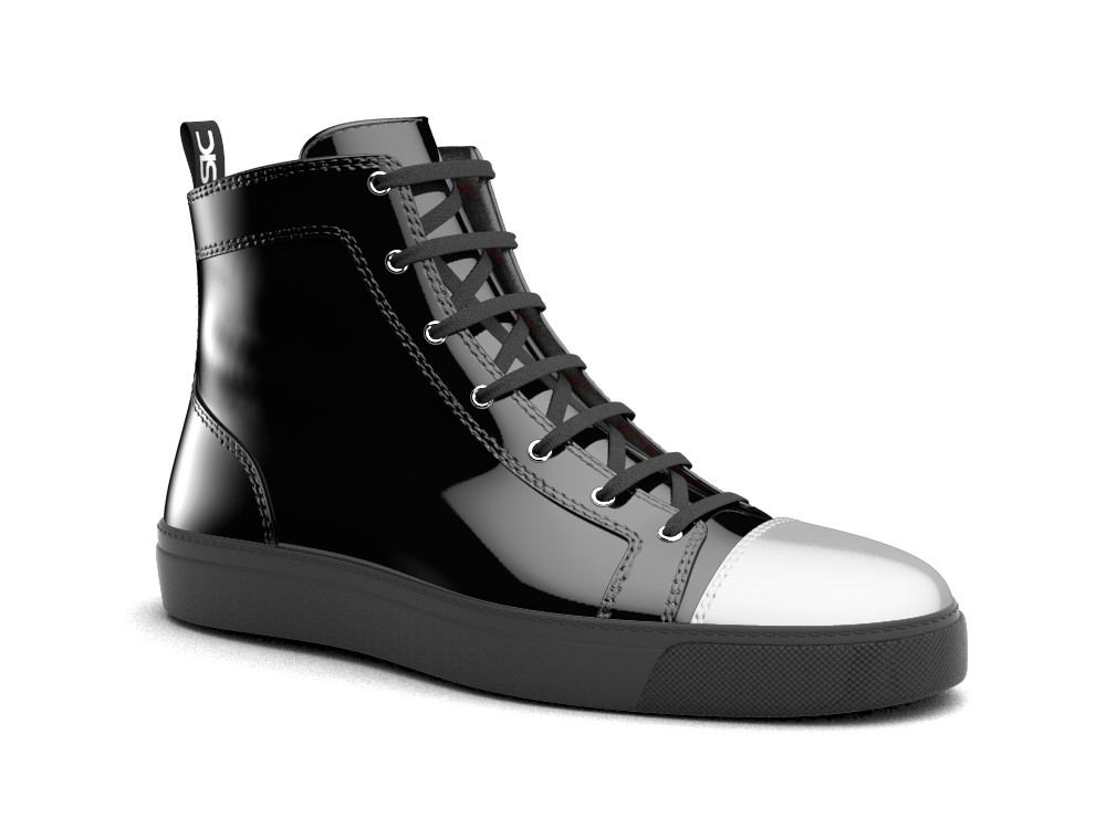 hi top sneakers black patent leather silver toe