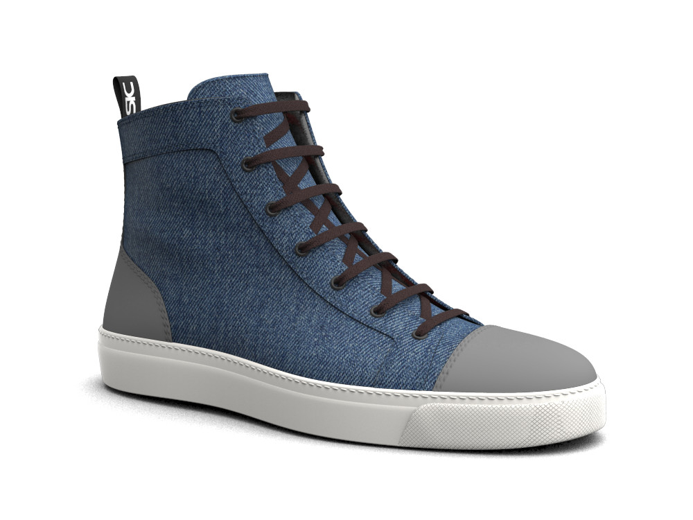 sneakers alta pelle deco denim