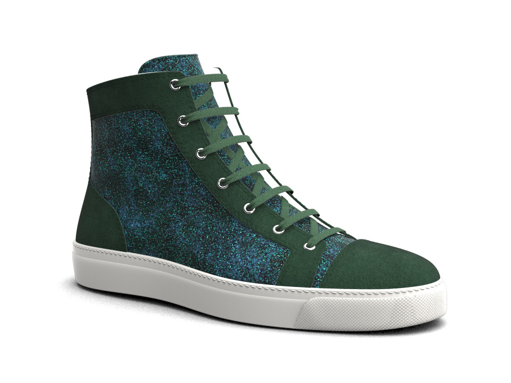 woman green glitter stardust suede leather hi top sneaker