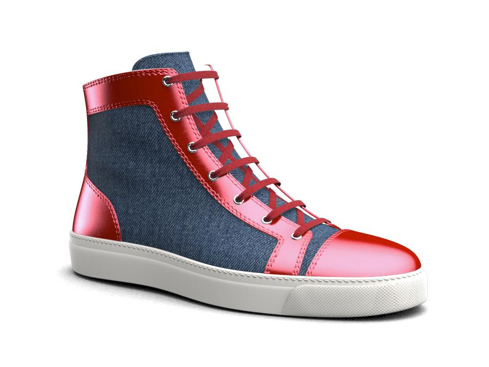 woman red laminated leather denim hi top sneaker
