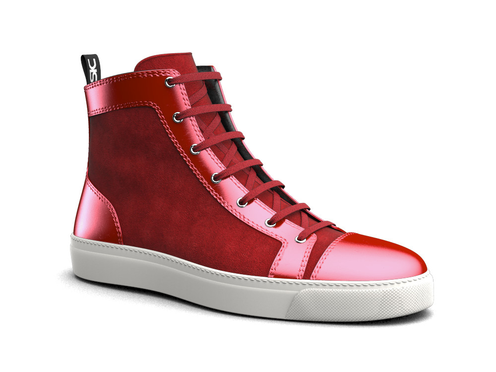 woman hi top sneaker red laminated leather suede