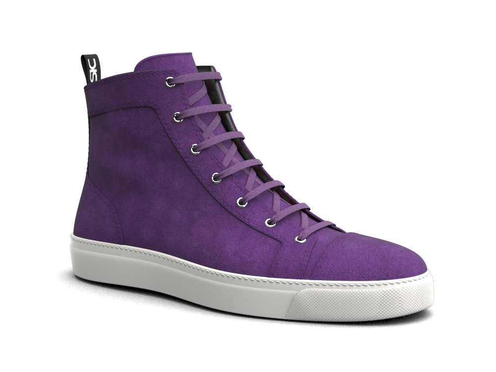 woman purple suede hi top sneaker