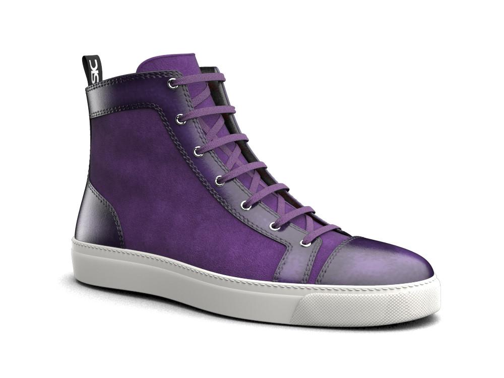 sneaker alta pelle scamosciata spazzolata viola