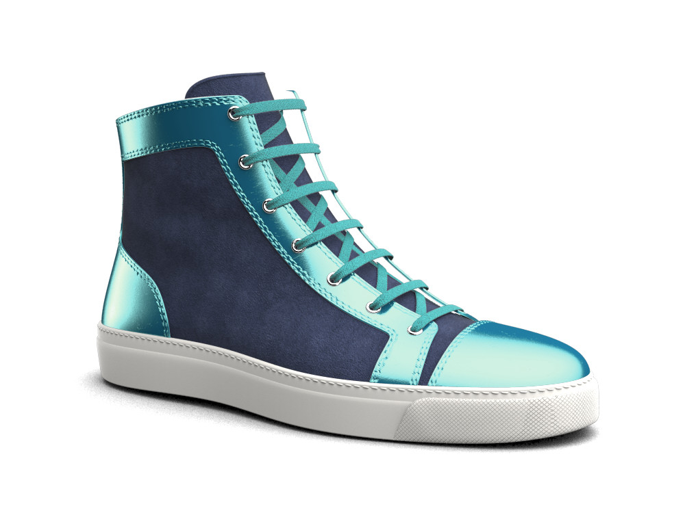 woman indigo suede turquoise laminated leather hi top sneaker
