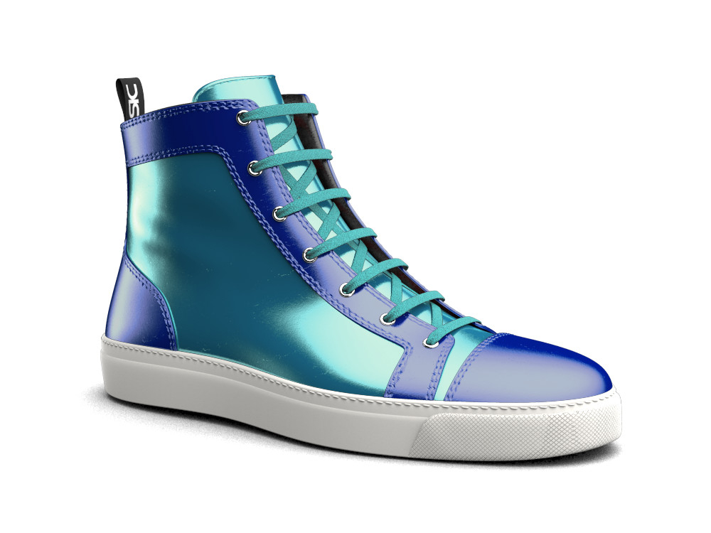 woman turquoise blue laminated leather hi top sneaker