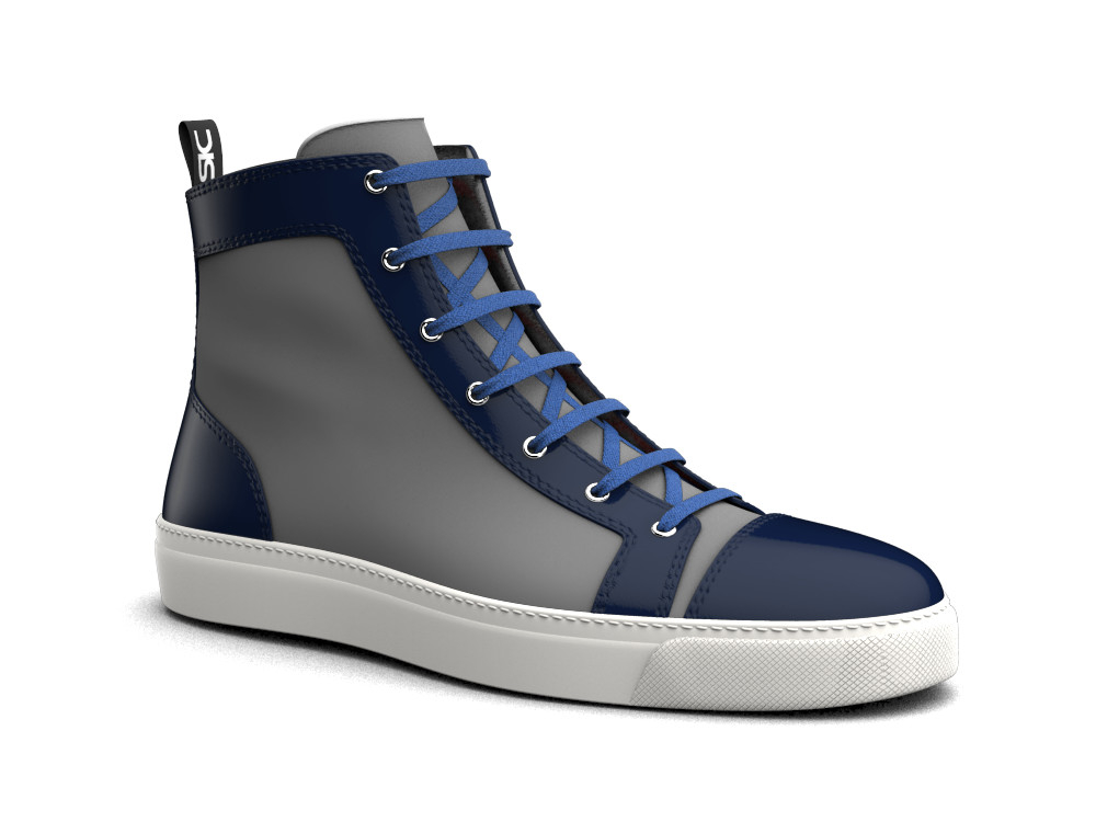 hi top sneakers blue stingray print leather