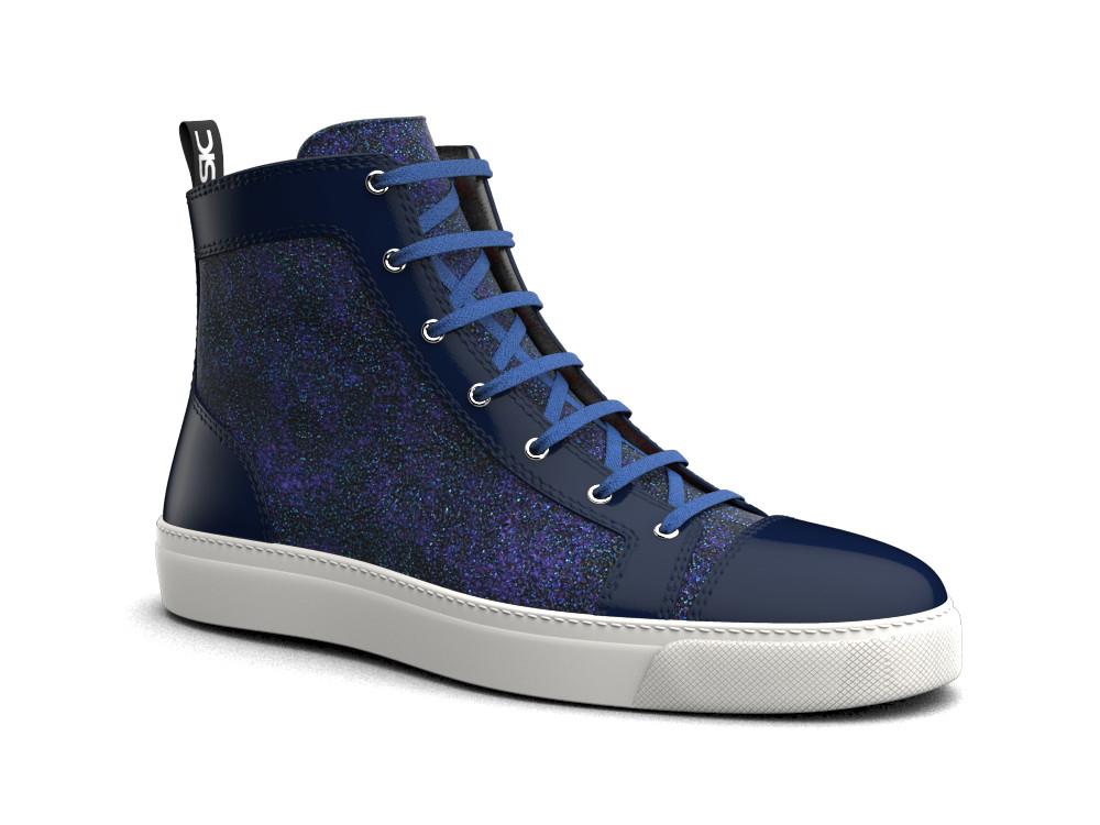 sneaker alta pelle glitter stardust blu