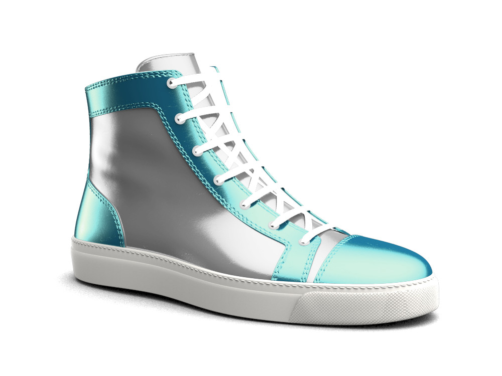 silver turquoise woman high top sneaker